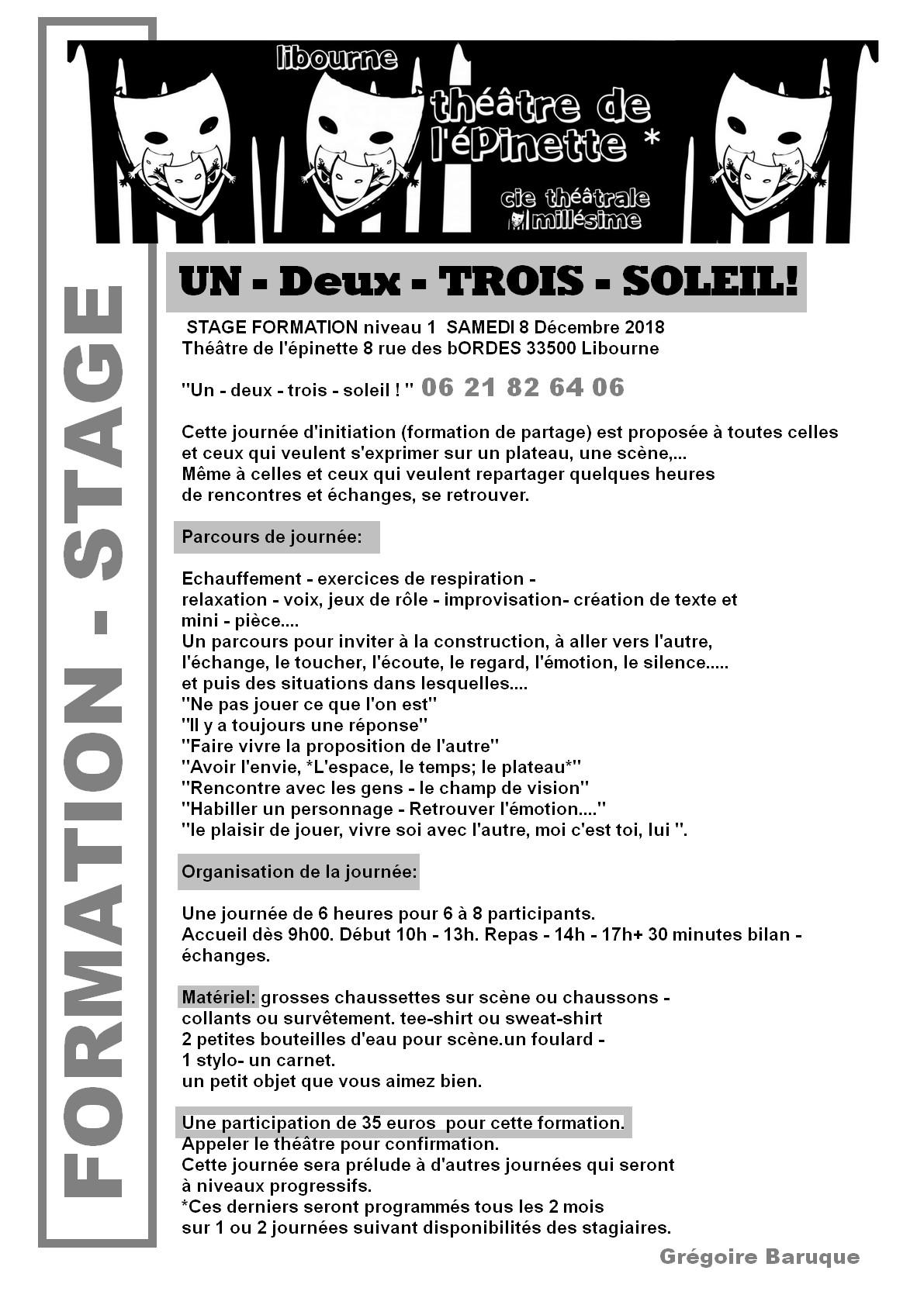 Formation stage thetre epinette 8 decembre 2018