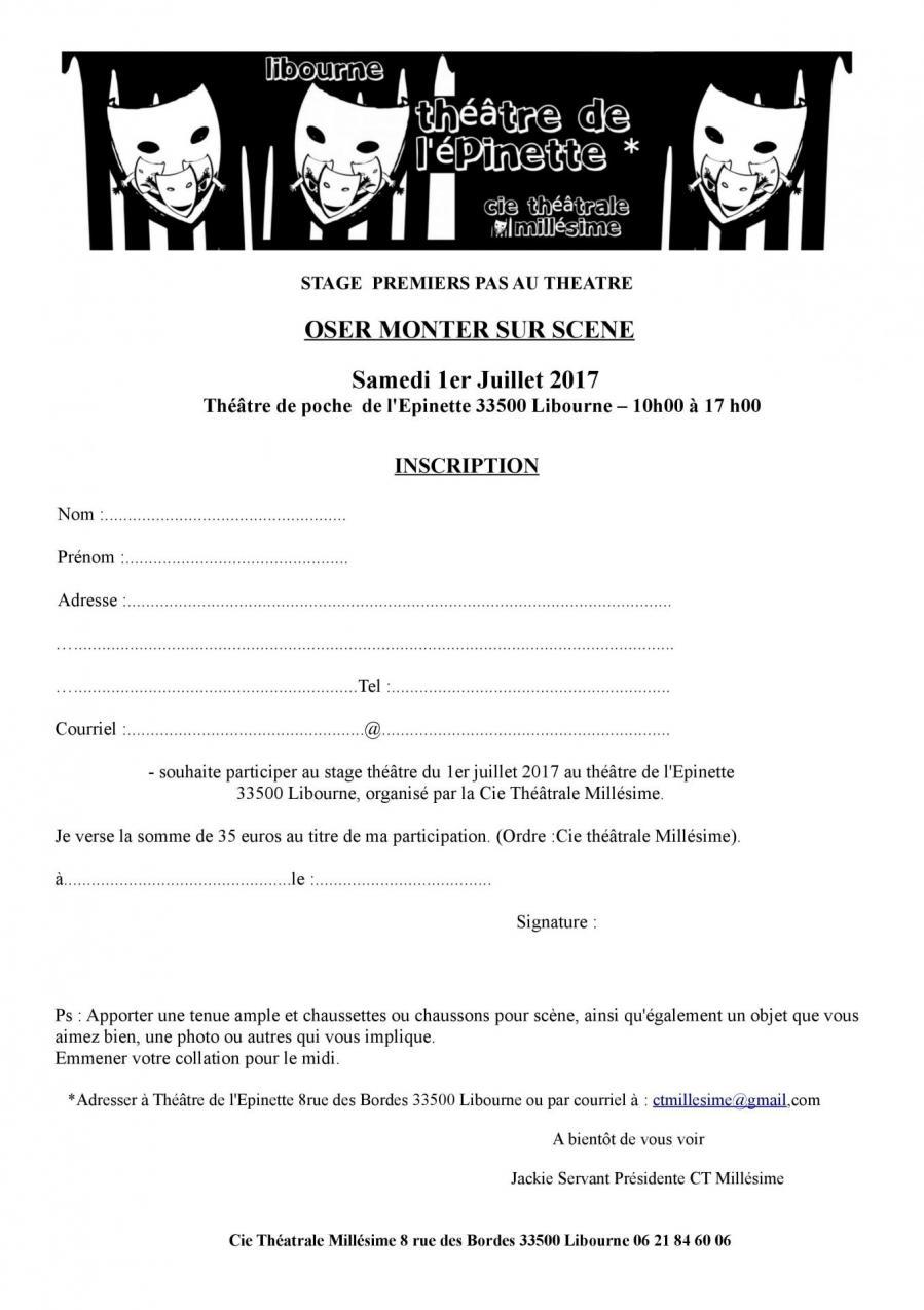 Inscriptions stage theatre 1 er juillet 2017